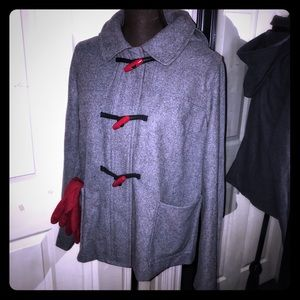 Hooded Wool Blend Coat with Toggle Buttons